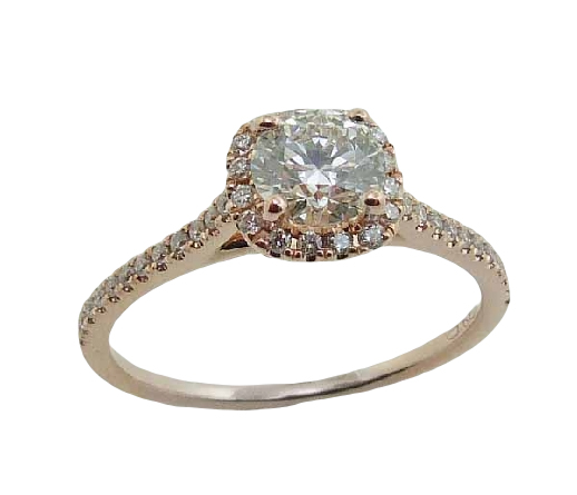 14 Karat rose gold diamond engagement ring set with a 0.536 carat Hearts On Fire diamond, I, VS2 and 54 round brilliant cut diamonds, 0.26 cttw, H/I, SI set into the halo, on the profile and the band.