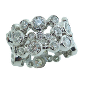 18K White gold Hearts On Fire Effervescence lady's ring bezel set with 3.547cttw Hearts On Fire diamonds, H/I, VS2-SI1.