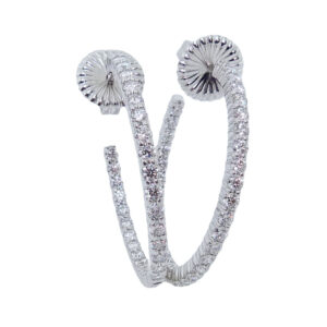 """18K White gold Hearts On Fire """"Hoopla"""" inside out hoop earrings claw set with Hearts On Fire diamonds, 2.00cttw, I, VS-SI."""