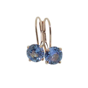 14K rose gold lever back earrings set with 2 round blue sapphires, 1.168cttw.