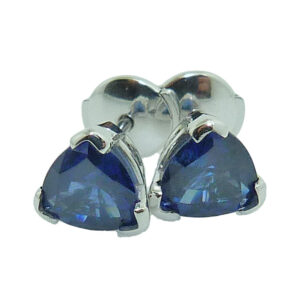 14K white gold blue sapphire earrings, set with two trillion blue sapphires totaling 2.02ct and with locking backs.