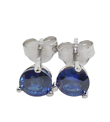 14 karat white gold 3 prong stud earrings set with 2 = 1.04cttw sapphires.