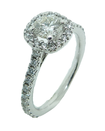 14K white gold cushion shape halo engagement ring set with an ideal cut Hearts On Fire diamond, 0.508ct I, SI1 and 38 very good cut, round brilliant cut diamonds, 0.42cttw, F/G, VS2-SI1.