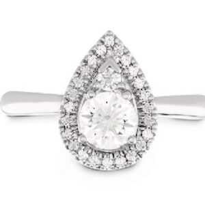 """18 K white gold engagement ring known as """"Destiny Teardrop Halo"""" by Hearts On Fire (Discontinued style) set with 0.302 ct I, VS2 ideal, round brilliant cut diamond by Hearts On Fire and with 0.118 cttw ideal, round brilliant cut diamond by Hearts On Fire, I/J, VS-SI."""