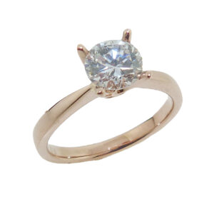 Lady's 14K rose gold solitaire engagement ring set with 1 carat CZ. Priced without a center gemstone. Let us find you the perfect center that fits your tastes and budget!